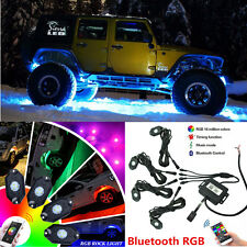 4x Pods Wireless Bluetooth RGB LED Rock Lights Accent Under Car Music Flashing