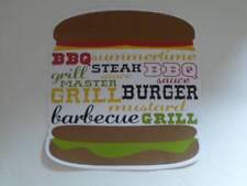 Summertime Hamburger Shaped Vinyl placemats BBQ Sauce Grill Steak Burger NEW