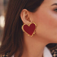 Fashion Women Geometric Red Heart Earrings Drop Dangle Stud Punk Jewelry