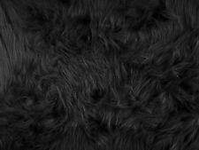 PLAIN BLACK FAUX LONG HAIR FUR FABRIC FANCY DRESS COSTUME CRAFT  PER~M AC356