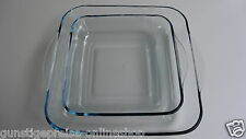 2tlg.Orig.Borcam-Eckige Auflaufform-aus Glas 3500cc + 2000cc-Maße:282x270/220x25