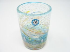 Water Blue Ocean-flower-garden Ryukyu Glass (Handmade in Okinawa)