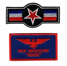 Goose Nick Bradshaw Air Force Star Top Gun movie US Navy IRON ON Patch (2pc)