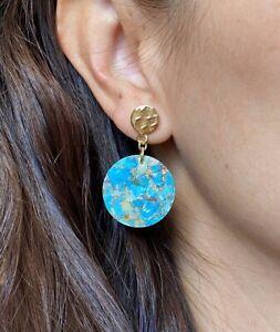 Raw Turquoise Gold Dangle Earrings Turquoise Earrings Minimalist Stone Earrings