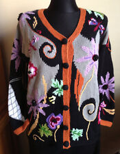 Flowers & Insects Theme New STORYBOOK KNITS Crocheted Cardigan Sweater S Knitted