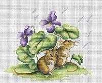 Sheltering From The Shower Cute Mice Counted Cross Stitch Kit Luca