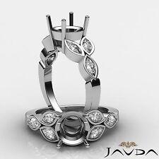 Marquise Diamond Engagement Designer Ring Round Semi Mount 14k White Gold 1Ct