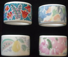 Four Lovely Porcelain Napkin Rings. Nice Spring Colors