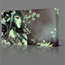 LARGE 16x12 Inch Tattoo Geisha Girl Red Flowers Framed Canvas Wall Art Picture