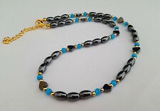 Dainty hematite and blue glass bead necklace - 1002379