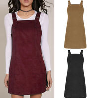 New Women Ladies Pinafore Dungaree Mini Skater Corduroy A Line Dress UK 6-14