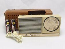 1962 Westinghouse H841P6 AM transistor radio+case+earphone, loud, new capacitors