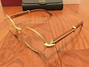 Cartier 7550178 55-22 Men's Gold & Wood Eyeglasses