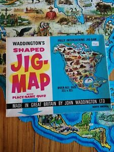 VINTAGE WADDINGTONS JIG MAP NORTH AMERICA NO 562 COMPLETE IN GOOD CONDITION