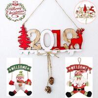 Christmas Santa Claus Elk Wood Plate Hollow Door Hanging Xmas Ornament Decor