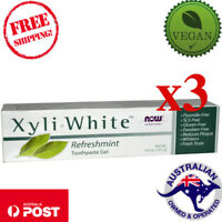 3x Now Foods Solutions XyliWhite Vegan Toothpaste Gel Refreshmint 6.4 oz (181 g)