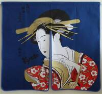 Japanese Noren Curtain UKIYOE UTAMARO BIJIN Doorway Room Divider Tapestry/Blue