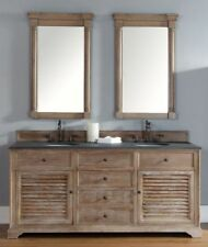 "72"" James Martin Savannah Driftwood Double Bathroom Vanity + Rustic Black Top"