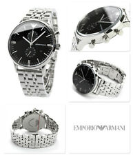 NEW EMPORIO ARMANI AR0389 MENS BLACK DIAL STAINLESS STEEL CHRONOGRAPH WATCH