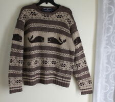 VINTAGE POLO Ralph Lauren -Sz M Fantastic Rich Whale Fair-Isle Hand-Knit Sweater