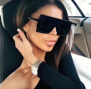 Oversized Square Flat Top Women Very Large Ladies Fashion Sunglasses Shade UV400