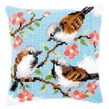 Oiseaux in Fleurs Chunky Point De Croix Kit -imprimé Coussin Tapisserie Vervaco