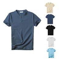 Été Hommes col V en coton lin T-shirt à manches courtes Casual Hauts Henley