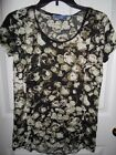 SIMPLY VERA WANG ARMY OLIVE GREEN BLACK CREAM CRINKLE TOP XS NEW