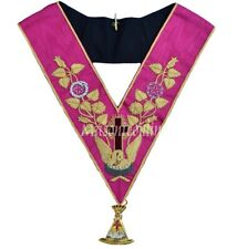 More details for masonic regalia-rose croix 18th degree embroidered collar + collar jewel+gloves