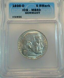 1936-D Germany Third Reich 5 Reichsmark Silver ICG MS60 Condition KM#86 (481)