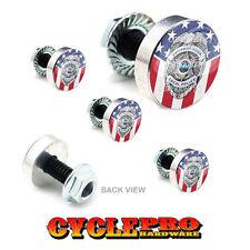 5 Pcs Billet Fairing Windshield Bolt Kit For Harley POLICE BADGE USA FLAG - 154
