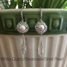 Chandelier Earring -White Quartz/Shell Pearl/Hematite/on CZ Silver Wire