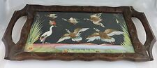 Vintage Feathercraft Bird Feather Tray Picture Vintage Carved Wood Frame Mexico