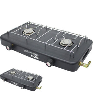 NEW DOUBLE GAS BURNER WITH DOUBLE HOB CAMPING OUTDOOR PORTABLE COOKING BBQ STOVE
