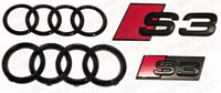 Audi Gloss S3 Black Badge Rings Grille Boot Badge Emblem Ultimate Kit