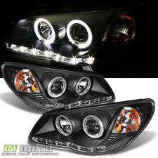 Blk For 2007-2010 Elantra LED Strip DRL Halo Projector Headlights Headlamps Pair