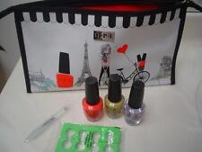 OPI  Pedi Chic Makeup Bag 3 Full Size Polish Crystal File Toe Sep Lot Set NEW