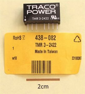 TRACO TMR 3-2422 3W Isolated DC-DC Converter Vin 18 to 36Vdc Vout ±12Vdc ±125mA