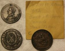 BANK TOKENS 1842 MONTREAL & 1852 UPPER CANADA & 1812 CONDER TOKEN