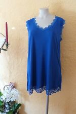 NO SECRET Feinstrick Shirt Top Damen Gr. 50 NEU blau Spitzenbesatz  LAGENLOOK
