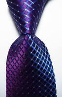 New Classic Checks Purple White Blue JACQUARD WOVEN 100% Silk Men's Tie Necktie