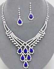 Royal Blue Crystal Rhinestone Formal Necklace Jewelry Set Earring Bridal Elegant