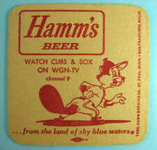 HAMM'S BEER WGN-TV CHICAGO CUBS WHITE SOX COASTER 1960s