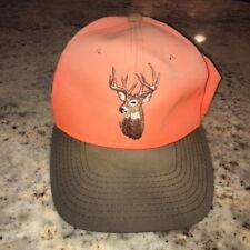 Deer Hunter Hunting Strapback Neon Orange Hat Adjustable Cap One Size Fits All