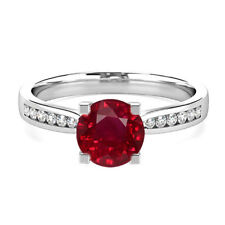 Round Cut 2.18CT Ruby Gemstone Diamond Rings Solid 14K White Gold Ring Size M