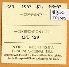 * ICCS MS-65 MS65 1967 Canada $1 Dollar Goose Beautiful Original Toning *