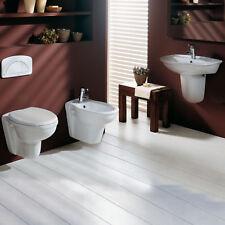 Bagno completo sanitari sospesi in ceramica wc sedile bidet e lavabo semicolonna