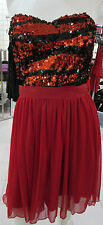 Dress Small Red Black Sequins Top Chiffin Layered Skirting Strapless NWT DC926