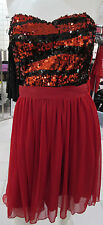 Dress Medium Red Black Sequin Top Chiffon Layers Skirting Strapless NWT DC927