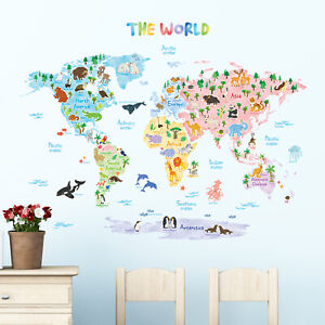 Decowall Animal World Map Nursery Kids Removable Wall Stickers Decal DAT-1615S